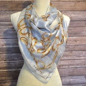 💯 Authentic Chanel silk scarf blue